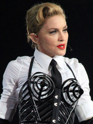 Madonna performs on stage as part of her MDNA world tour Milan, Italy