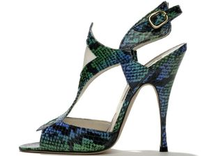 Snakeskin heels by Brian Atwood at Net-a-porter.com, vixen high heels, green blue snakeskin print, open toe