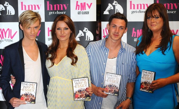 Harry Derbridge, Sam Faiers, Kirk Norcross & Gemma Collins. Signing copies of the new 'The Only Way is Essex' DVD. HMV, Westfield, Stratford, East London. London, England - 29.09.11 Mandatory Credit: WENN.com