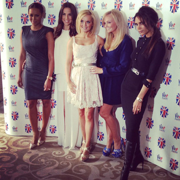 Christian Vermaak posted this image on Instagram of the re-united Spice Girls (Mel B (Melanie Brown), Mel C (Melanie Chisholm), Geri Halliwell, Emma Bunton and Victoria Beckham) with the caption 'Spice Ladies'<br /> Credit: Christian Vermaak/Twitter, Supplied by WENN.com(WENN does not claim any Copyright or License in the attached material. Any downloading fees charged by WENN are for WENN's services only, and do not, nor are they intended to, convey to the user any ownership of Copyright or License in the material. By publishing this material, the user expressly agrees to indemnify and to hold WENN harmless from any claims, demands, or causes of action arising out of or connected in any way with user's publication of the material.)