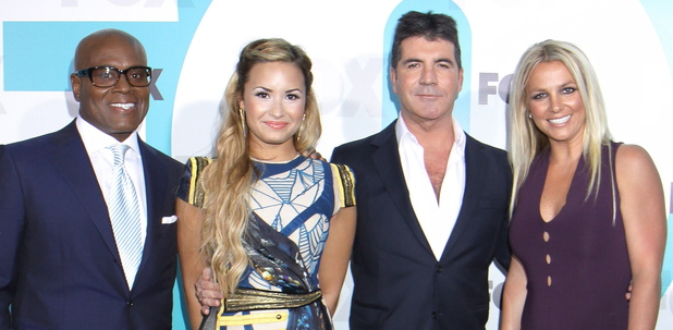 X Factor judges Simon Cowell, L.A. Reid, Britney Spears and Demi Lovato at the 2012 Fox  Upfront Presentation held at the Wollman Rink in New York City, USA, 14.05.12