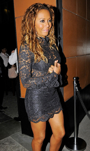 Mel B pictured at Nobu in London wearing black lace dress like Britney Spears' 2001 one