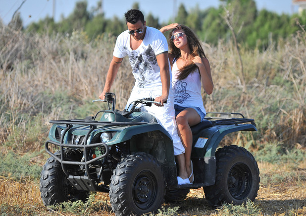 **Exclusive to Reveal Magazine**.  1st UK Rights Peter Andre and new girlfriend Emily McDonaugh on holiday in Cyprus - the pair looked to be having a great time as they drove a quadbike Cyprus - 06.08.12 Mandatory Credit: WENN.com