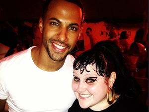 JLS Marvin Humes and Beth Ditto at V Festival 2012