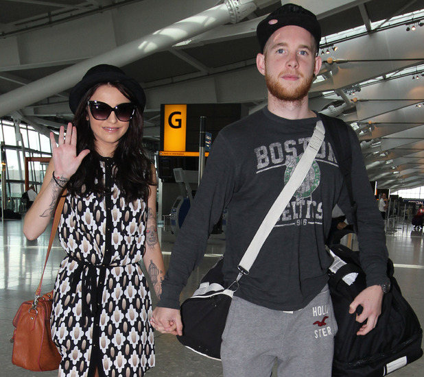 Cher Lloyd and her fiance Craig Monk at Heathrow Airport on their way to New York 28/08/2012