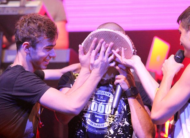 Max George gets cake on face at MTV VMA pre concert