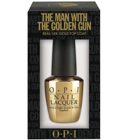 OPI The Man with the Golden Gun top coat cut-out