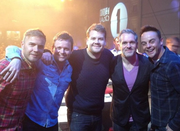Ant & Dec, James Corden, Gary Barlow and Chris Moyles on Radio 1