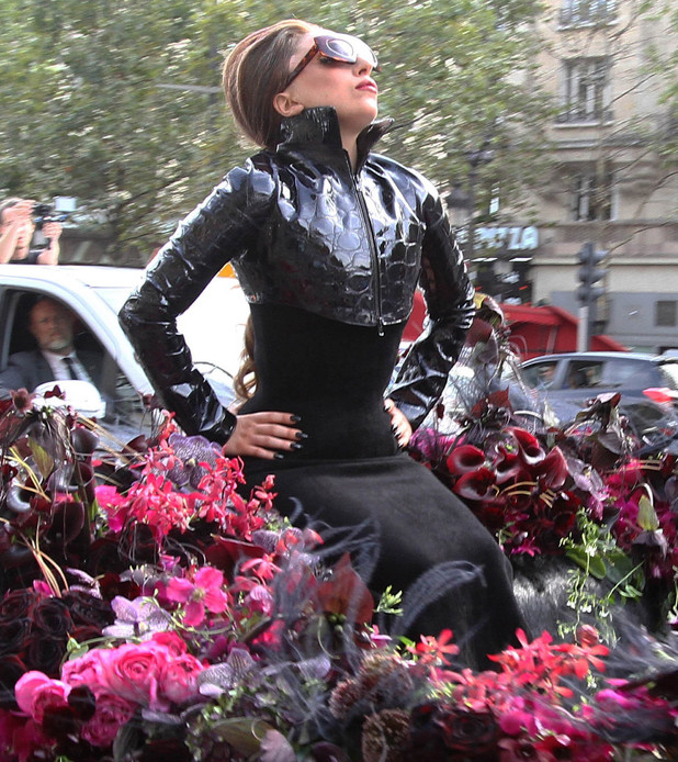 Lady Gaga arriving at the Sephora department store on the Champs Elysee for the launch of her new perfume 'Fame' Paris, France - 23.09.12 **Available for publication in the UK & USA only. Not for publication in the rest of the world** Credit: WENN.com