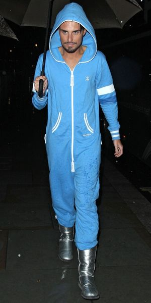 X factor Rylan blue onesie and silver boots