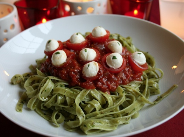 Green Slime Eyeball Pasta with Fiery Hell Sauce
