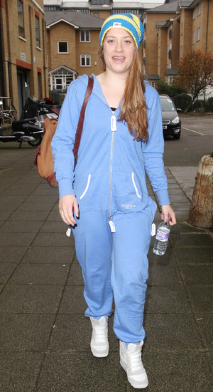 Ella Henderson wearing a blue onesie jumpsuit The X Factor finalists arrive at the rehearsal studios London, England - 23.10.12 Mandatory Credit: SIMS&WESTON/WENN.com