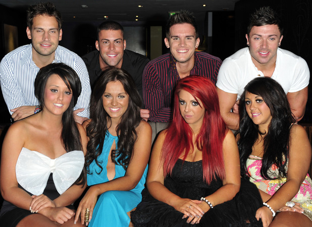 Back row L to R: Greg Lake, Jay Gardner, Gaz Beadle, James Tindie. Front Row L to R: Sophie Kaisie, Vicky Pattison, Charlotte Liticia Crosby Holly Hagan. Geordie Shore cast glam up for London Reunion show - Photocall at the The Hospital Club, Endell Street London, England - 01.07.11 Mandatory Credit: WENN.com