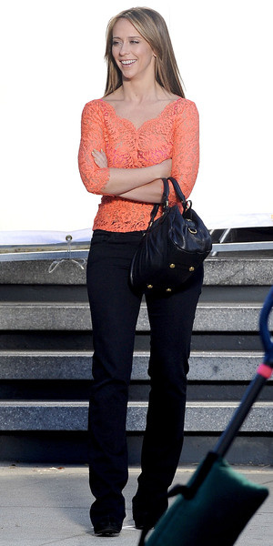 Jennifer Love Hewitt filming a new episode for her TV show 'The Client List' wearing a see-through orange lace top, exposing a red bra Los Angeles, California - 09.11.12 Credit: (Mandatory): Cousart/JFXimages/Wenn.com