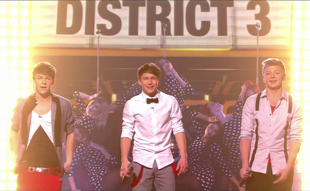 District 3 aka District3 are seen performing on 'X Factor' Shown on ITV1 HDEngland - 22.10.12 Supplied by WENN.comWENN does not claim any ownership including but not limited to Copyright or License in the attached material. Any downloading fees charged by WENN are for WENN's services only, and do not, nor are they intended to, convey to the user any ownership of Copyright or License in the material. By publishing this material you expressly agree to indemnify and to hold WENN and its directors, shareholders and employees harmless from any loss, claims, damages, demands, expenses (including legal fees), or any causes of action or  allegation against WENN arising out of or connected in any way with publication of the material.