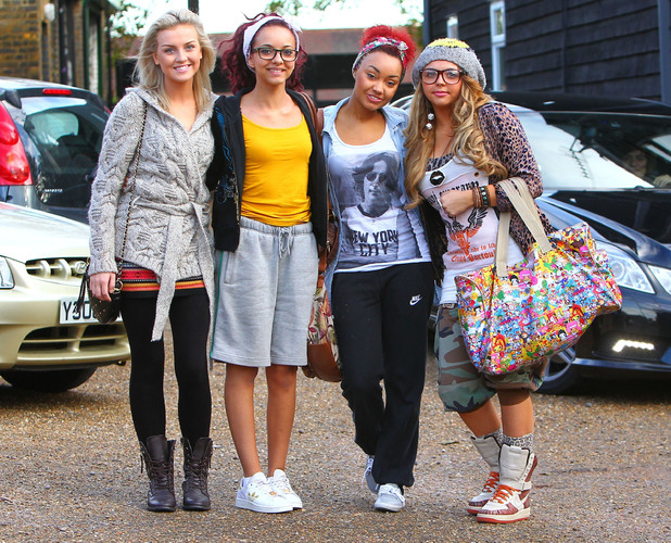Miss Mode: X Factor Finalists Perrie Edwards, Jade Thirwell, Leigh-Anne Pinnock and Jesy Nelson of Little Mix (Formerly Rhythmix) arriving at a studio England - 26.10.11 Mandatory Credit: WENN.com