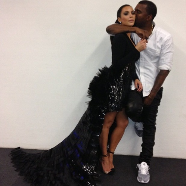 Kim Kardashian with Kanye West backstage at the MTV EMAs 11.11.12