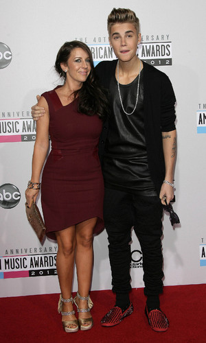 Justin Bieber and his mom Pattie Mallette The 40th Anniversary American Music Awards 2012, held at Nokia Theatre L.A. Live - Arrivals Los Angeles, California - 18.11.12 Mandatory Credit: Adriana  M. Barraza/WENN.com