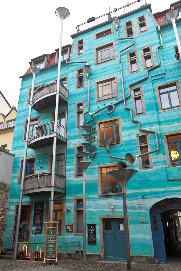 The house that sings when it rains in Dresden, Germany