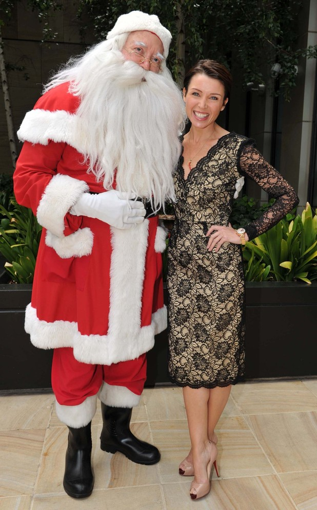 Dannii Minogue meets Santa Claus at Crown's Annual Women In Media Christmas Luncheon held at Crown Towers