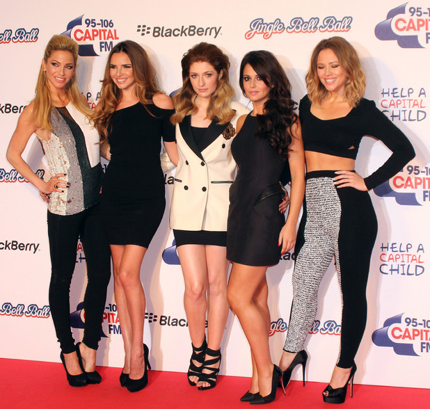 Sarah Harding, Nadine Coyle, Nicola Roberts, Cheryl Cole and Kimberly Walsh of Girls Aloud Capital FM Jingle Bell Ball held at the O2 Arena - Arrivals London, England - 09.12.12 Credit Mandatory: Cameron Clegg/WENN.com