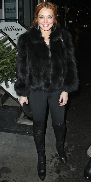Lindsay Lohan arriving at Nozomi restaurant in Knightsbridge in a black fur coat Featuring: Lindsay Lohan Where: London, United Kingdom When: 02 Jan 2013 Credit: Spiller/WENN.com