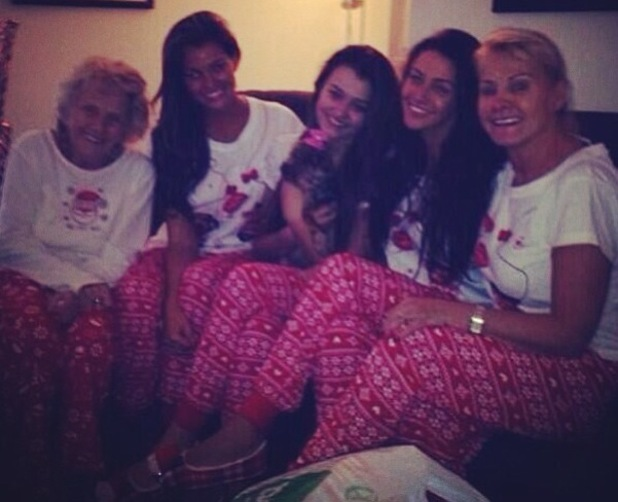 Michelle Keegan spends Christmas wearing matching pyjamas to the Wright girls - 25 December 2013