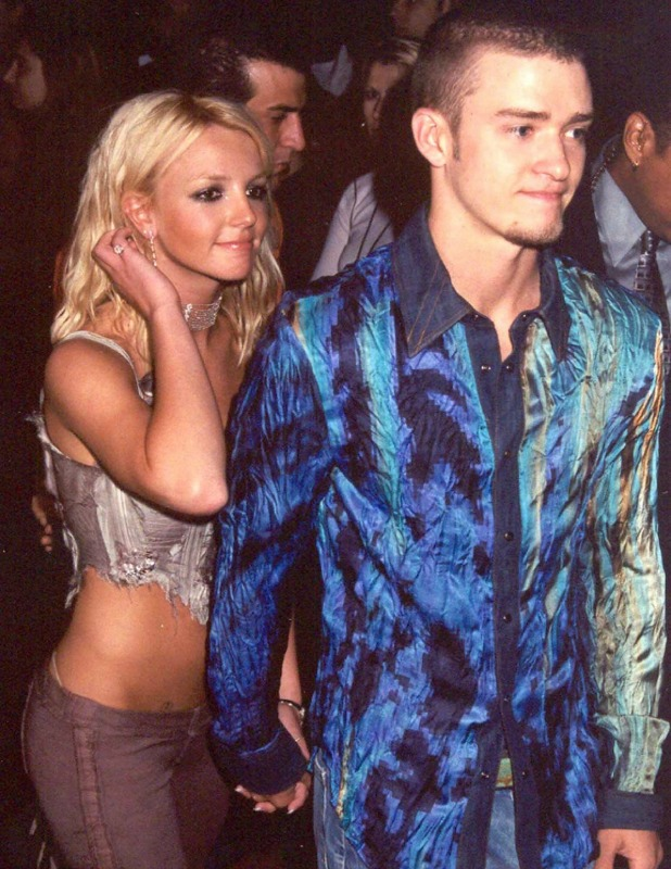 Britney Spears and boyfriend Justin Timberlake at the launch party for the new N'Sync album 'Celebrity', 2001