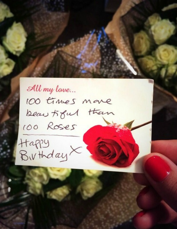 Samantha Faiers tweets picture of roses sent to her by secret admirer, 31 December 2013