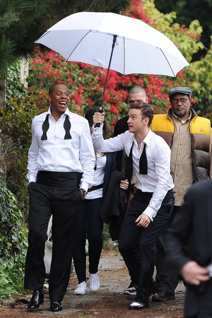 Justin Timberlake and Jay-Z seen fooling around on the set of their new music video 'Suit and Tie'Featuring: Justin Timberlake,Jay-Z,Shawn Carter Where: Los Angeles, California, United States When: 25 Jan 2013 Credit: JFXimages/WENN.com