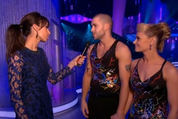 Screengrab of Shayne Ward talking to Christine Bleakley on Dancing On Ice