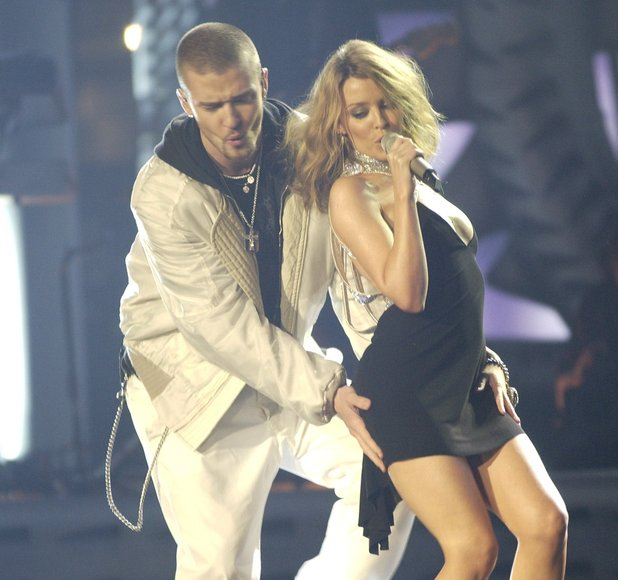 Justin Timberlake and Kylie Minogue performing at The Brits Awards 2003, at Earls Court London