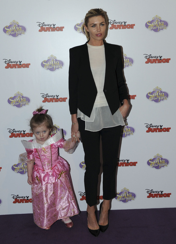 Abbey Clancy and Sophia Ruby Crouch at Disney Junior's new TV series, Sofia The First, at The May Fair Hotel