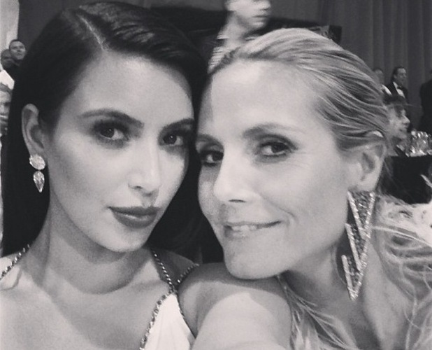 Kim Kardashian and Heidi Klum at Elton John's post Oscar Aids Foundation party - 24 February 2013