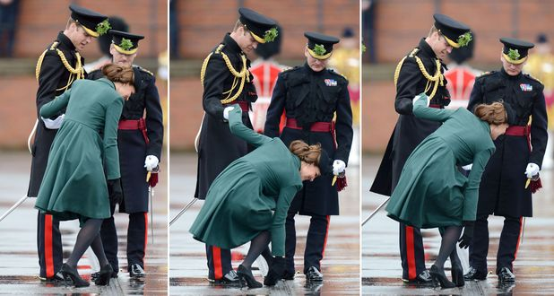 Sequence of pictures as Catherine Duchess of Cambridge gets her heel stuck in a drain 17 Mar 2013
