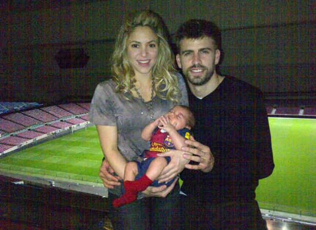 Shakira, baby son Milan, Gerard Piqué at Camp Nou Barcelona