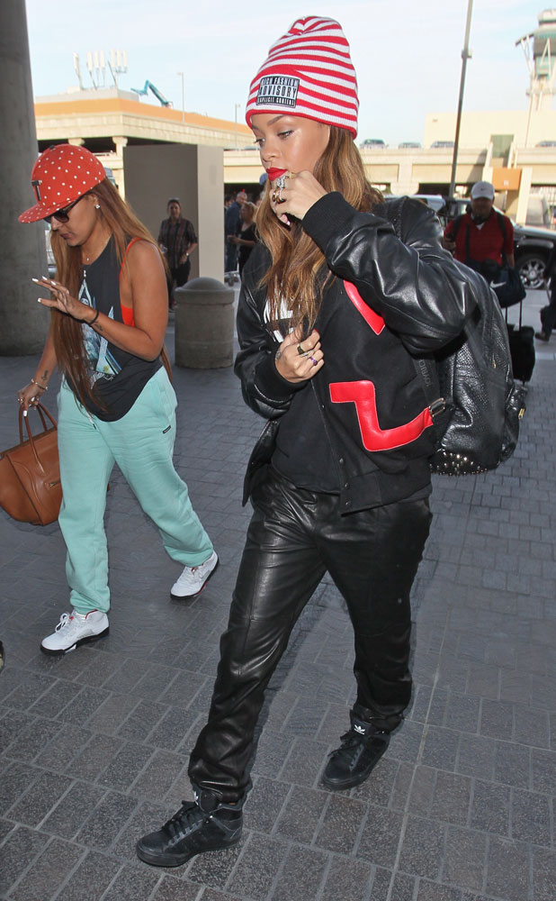 Rihanna seen arriving at LAX Airport for a flight, Los Angeles, California, United States. 15 Feb 2013