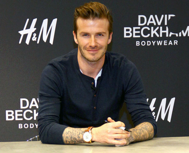 David Beckham is presenting his new bodywear line for H&M at Alexa shopping centre. Berlin, Germany - 19.03.2013 Credit: Patrick Hoffmann/WENN.com