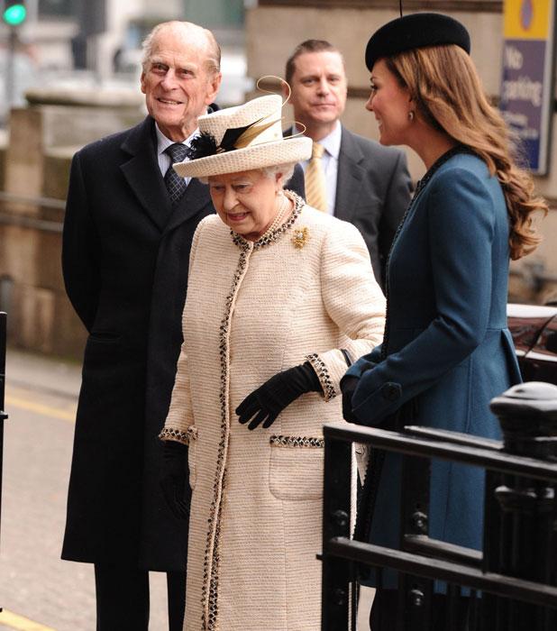 Prince Philip, Queen Elizabeth II and Catherine Duchess of Cambridge, 20 Mar 2013