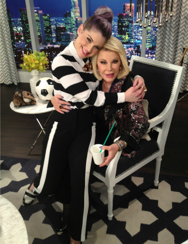 Kelly Osbourne and Joan Rivers on the set of E!'s Fashion Police