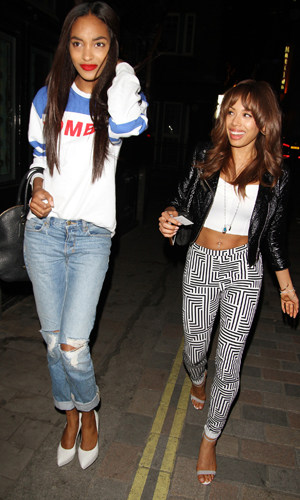 Model Jourdan Dunn and Jade Ewen of the Sugababes exit the Crazy Bear wine bar in Covent Garden Featuring: Jourdan Dunn,Jade Ewen Where: London, United Kingdom When: 23 Apr 2013 Credit: WENN.com