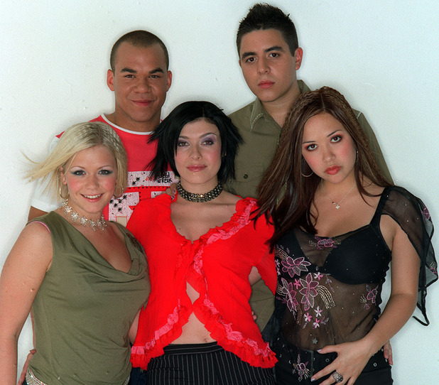 Say It's Saturday' - 2001 - Hear'say Back: Danny Foster and Noel Sullivan. Front: Suzanne Shaw, Kym Marsh and Myleene Klass.