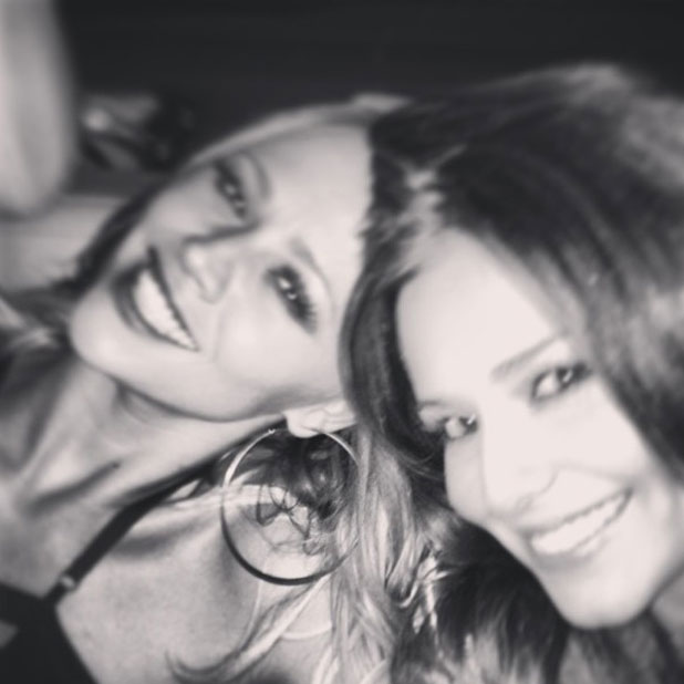 Kimberley Walsh and Cheryl Cole at a showing of Burn The Floor in London, 27 April 2013
