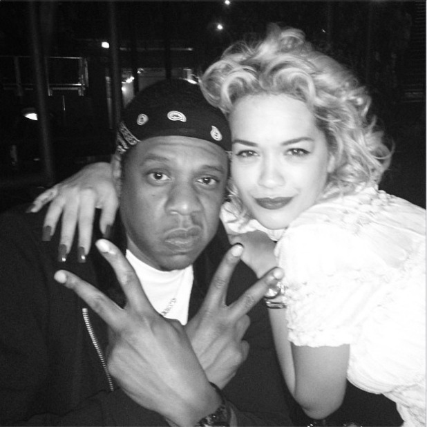 Rita Ora and Jay-Z backstage at Beyonce's concert