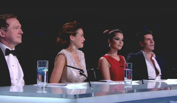 Louis Walsh, Danni Minogue, Cheryl Cole and Simon Cowell judging on 'The X Factor Final'. Shown on ITV1. England - 12.12.10. Supplied by WENN.com
