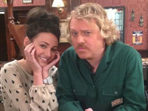 Michelle Keegan and Keith Lemon pose together on the set of Coronation Street, 14 May 2013