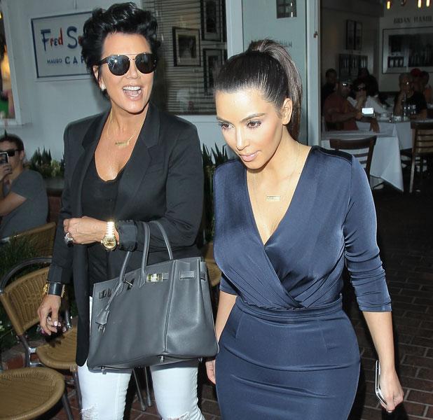 Kris Jenner, Kim Kardashian and boyfriend Kanye West seen leaving Fred Segal after having lunch, Los Angeles, California - 13.07.12
