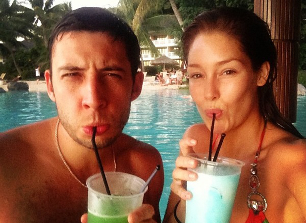 Example and Erin McNaught on their honeymoon
