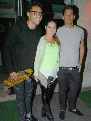 Made In Chelsea star's Andy Jordan, Louise Thompson and Ollie Locke at Cheska Hull's birthday party at Retro Feasts at 29 Old Burlington Street, June 7 2013