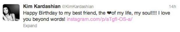 Kim Kardashian tweets birthday message to Kanye West, June 8 2013